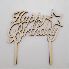 Topper pentru tort - ''Happy birthday'' - lemn