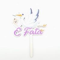 Topper pentru tort - ''E fata'' - lemn