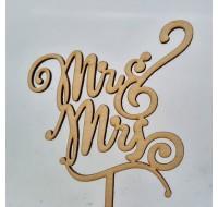 """Topper pentru tort - ''Mr. & Mrs."""" din lemn"""