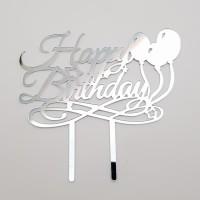 Topper pentru tort - ''Happy birthday'' - argintiu