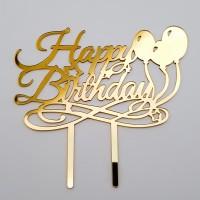 Topper pentru tort - ''Happy birthday'' - auriu