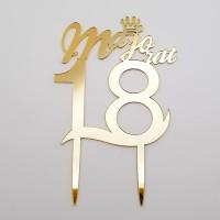 Topper pentru tort - ''Majorat 18'' - auriu