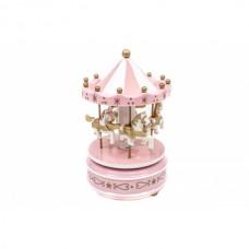 Carusel muzical din lemn roz