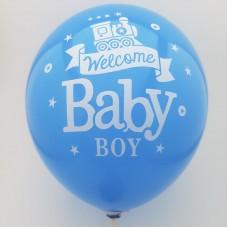 Set 10 baloane diverse culori - ''welcome baby boy''