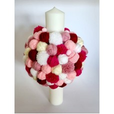 Lumanare botez cu gheme roz