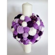 Lumanare botez cu gheme violet