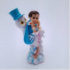 Figurina bebelus baietel cu barza