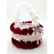 Cosulet petale nunta visiniu-alb