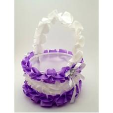 Cosulet petale nunta mov-alb