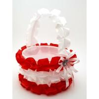 Cosulet petale nunta rosu-alb