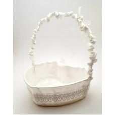 Cosulet petale inima nunta alb cu dantela