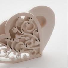Cutie verighete in forma de inima din lemn