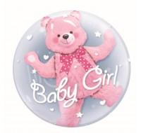 Balon transparent cu ursulet interior, 55cm roz