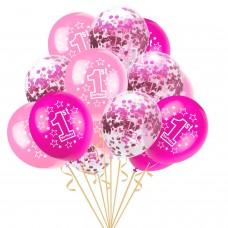 """Baloane latex cu confetti """"1st birthday"""" roz"""