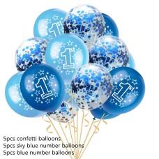"Baloane latex cu confetti ""1st birthday"" albastru"