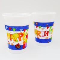Set 8 pahare unica folosinta 200 ml - ''Happy Birthday''